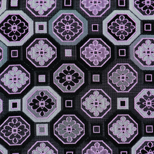 Silk Pocket Square - Dark grey background, black & grey squares, silver & pink geometric designs