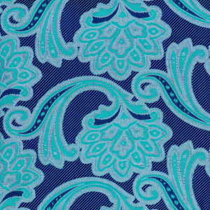 Silk Pocket Square - Blue violet background, silver & aquamarine floral pattern