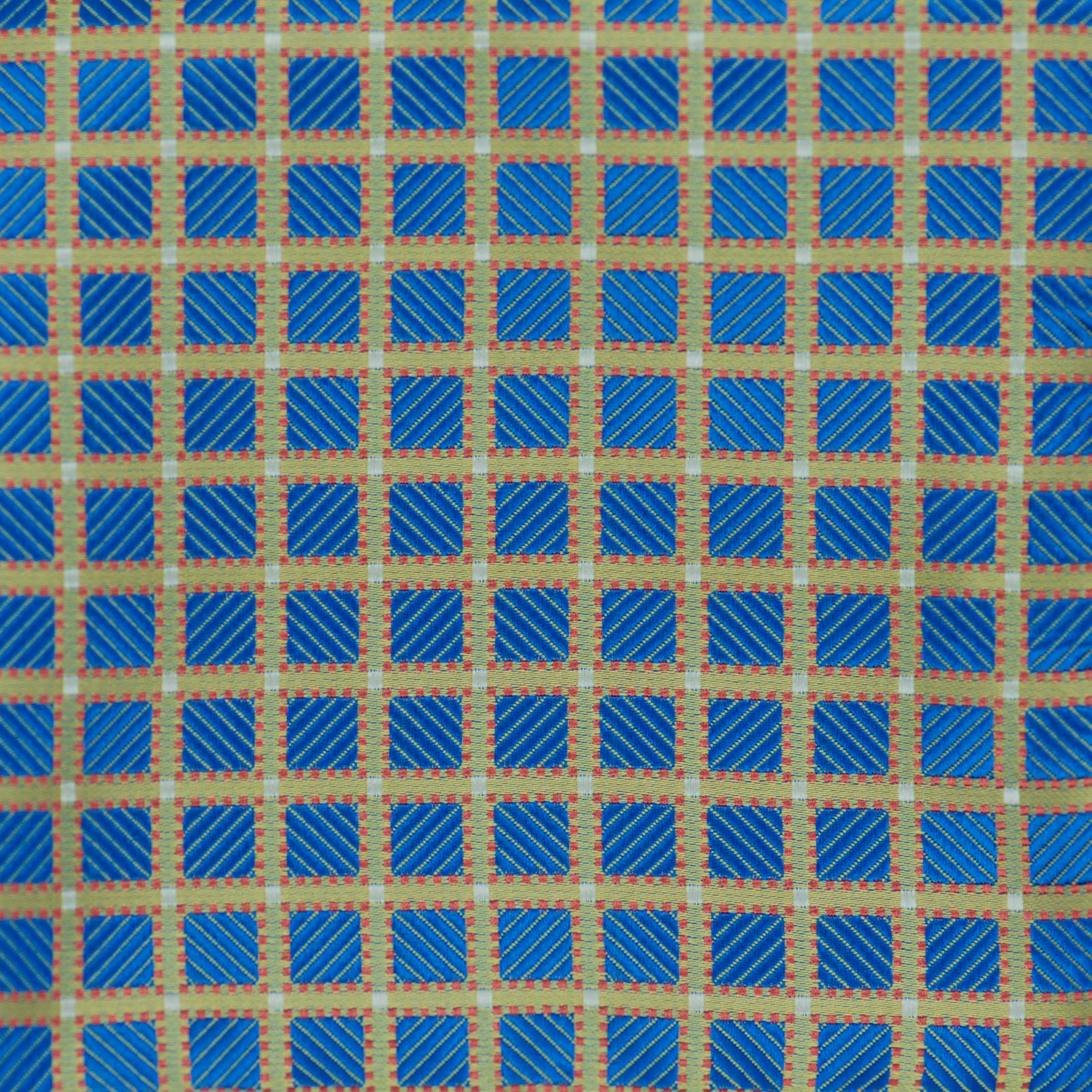 Silk Pocket Square - Gold hatch pattern, metallic self stripe blue squares blue, red dot stitch, tiny white squares