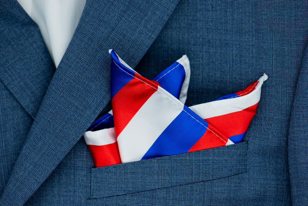 Silk Pocket Square - Red white and blue stripes