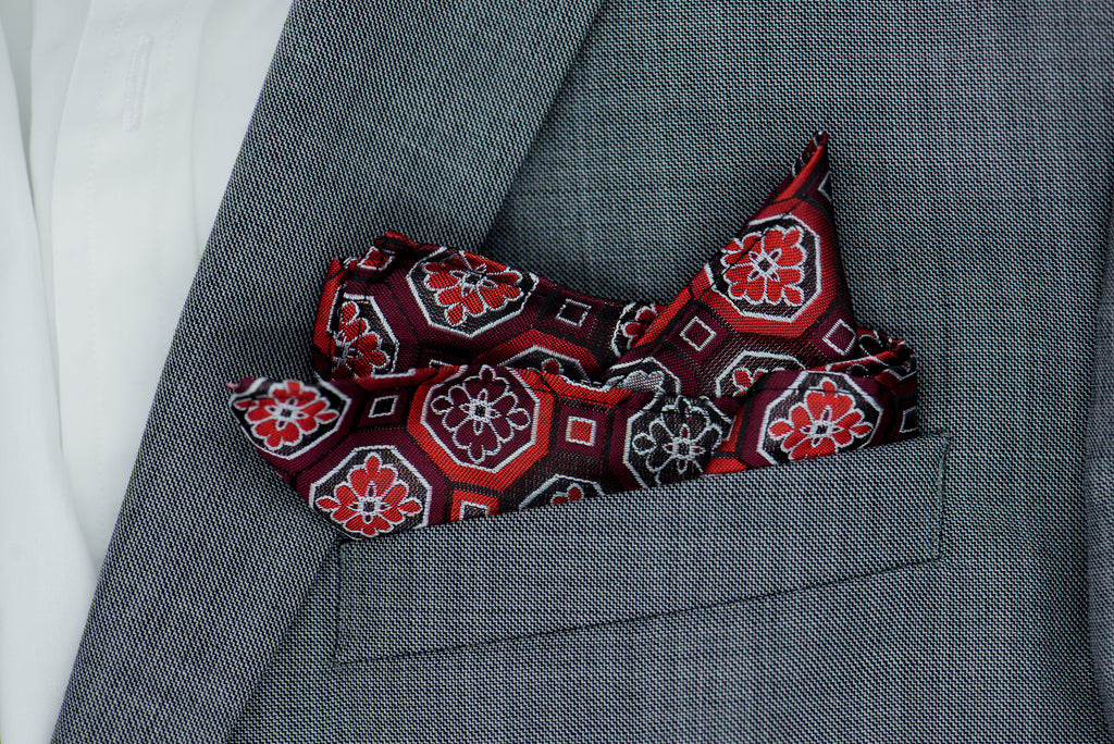 Silk Pocket Square - Burgundy background, silver, red/burgundy large hexagonal patterns, red & burgundy squares