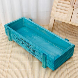 Wooden crate flower pot