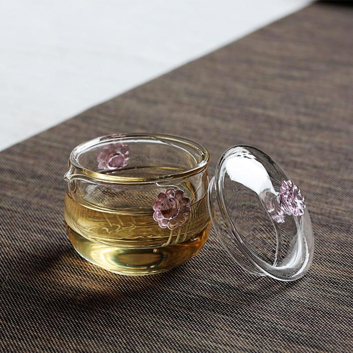 Travel Double-Walled Tea Infuser Cup with Daisy Glass.