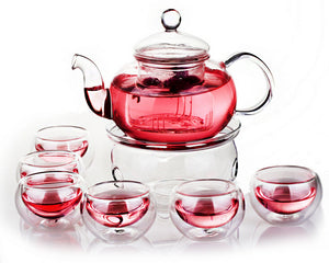 Traditionally Crafted Tea Pot Set (with 6 double-walled tea cups, warmer & infuser).