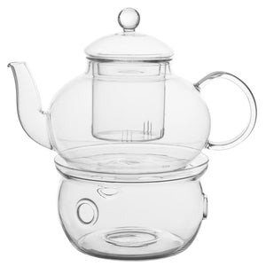 Traditionally Crafted Tea Pot Set (with 6 double-walled tea cups, warmer & infuser). This picture shows how the infuser hangs into the teapot for maximum infusion action.