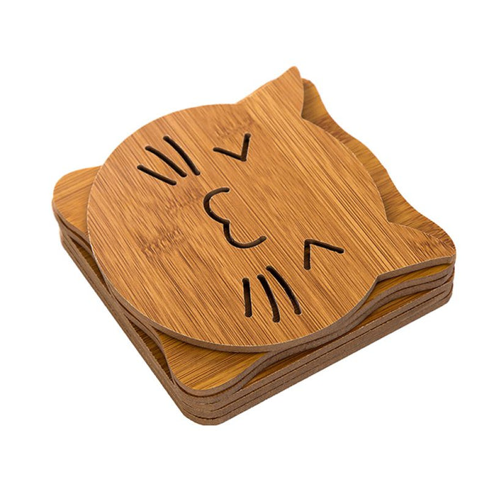 Wooden Super-Cute Drink Coaster/Mat (Cat & Fish Carvings). This picture features the cat carving.