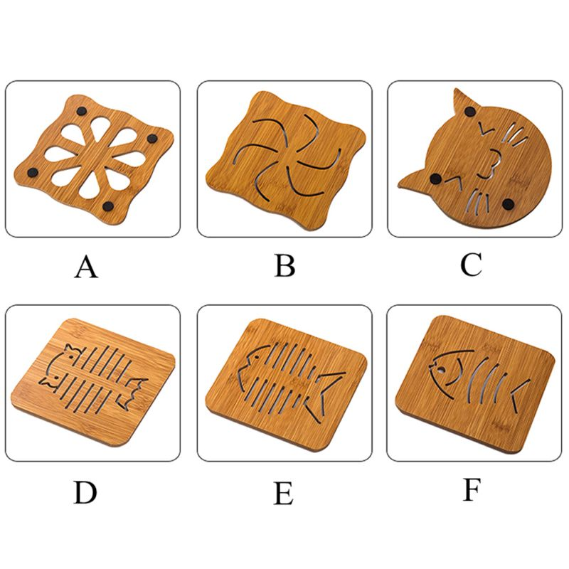 Wooden Super-Cute Drink Coaster/Mat (Cat & Fish Carvings). This picture features all the variants available: type A is the propeller design, type B features a swirl, type C is in the shape of a cat head, type D is a fish skeleton, type e is a more realistic fish version, type F is the most realistic fish skeleton (still in carton shape though).