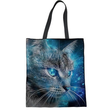 Load image into Gallery viewer, Cat Aspirations Linen Shopping Tote Bag