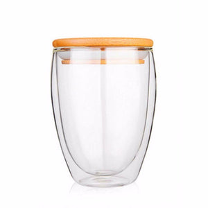 Double Walled Insulated Glass Cups With Bamboo Lid. This picture features the size variation: 350ml.