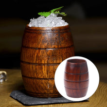 Load image into Gallery viewer, Handmade Wooden Cup in Vintage Beer Mug Style. This picture features the mug with some ice in it.