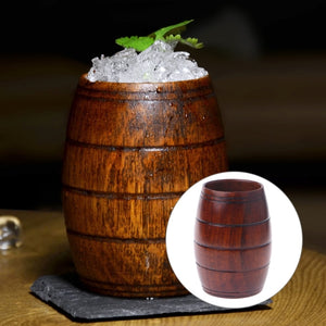 Handmade Wooden Cup in Vintage Beer Mug Style. This picture features the mug with some ice in it.