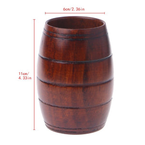 Handmade Wooden Cup in Vintage Beer Mug Style. This picture shows the dimensions of the product: it is 11cm tall and the opening is 6cm wide.