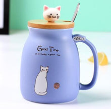 Load image into Gallery viewer, Cute purple porcelain cat themed keep cup with a bamboo lid featuring a small cat cat as the handle (and it has a spoon). Great for tea, coffee, milk, or other edible drinks of your preference.