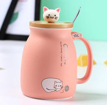 Load image into Gallery viewer, Cute pink porcelain cat themed keep cup with a bamboo lid featuring a small cat cat as the handle (and it has a spoon). Great for tea, coffee, milk, or other edible drinks of your preference.
