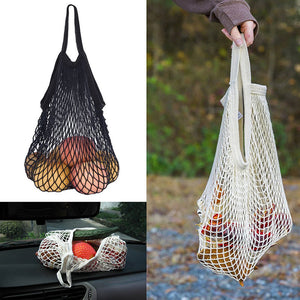 Cotton-Woven Net Shoulder Bag (Reusable Fruit/Vegetable Grocery Bag)