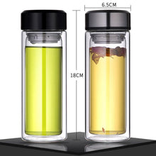 Load image into Gallery viewer, Double Layer Glass Tea Infuser Flask with Stainless Steel Lid. This picture features both variants (silver and black lids) as well as their dimensions: 16 centimetres tall and 6.5 centimetres wide.