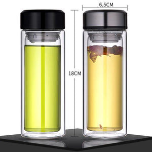 Double Layer Glass Tea Infuser Flask with Stainless Steel Lid. This picture features both variants (silver and black lids) as well as their dimensions: 16 centimetres tall and 6.5 centimetres wide.