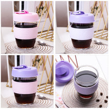 Load image into Gallery viewer, glass travel coffee mug with bpa free silicone lid