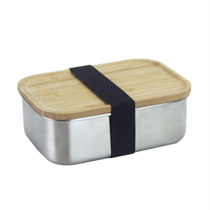Stainless Steel Lunchbox with bamboo lid, and black strap that holds the lunchbox closed.