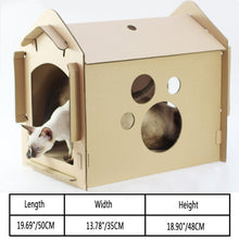 Load image into Gallery viewer, DIY Recycled Cardboard Cat Scratching Haven (BYO Cat). This picture features the dimensions of the item.