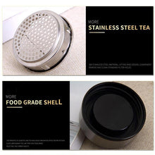 Load image into Gallery viewer, Double Layer Glass Tea Infuser Flask with Stainless Steel Lid. This picture shows the filter (perfect for tea) and the food grade shell of the flask. Good for hot and cold drinks.