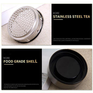 Double Layer Glass Tea Infuser Flask with Stainless Steel Lid. This picture shows the filter (perfect for tea) and the food grade shell of the flask. Good for hot and cold drinks.