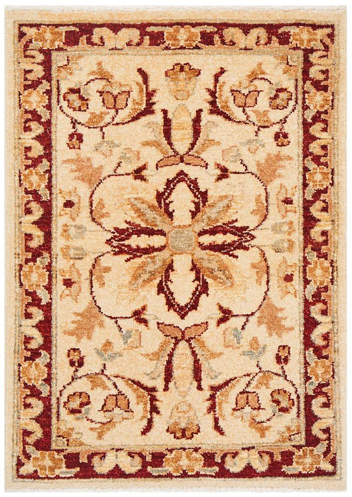 Hand Knotted Chobi Rug - Cream, Red & Gold Mustard