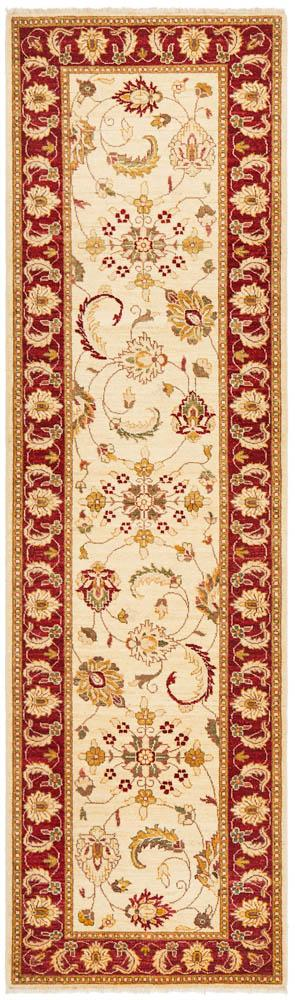Hand Knotted Chobi Rug - Cream & Red