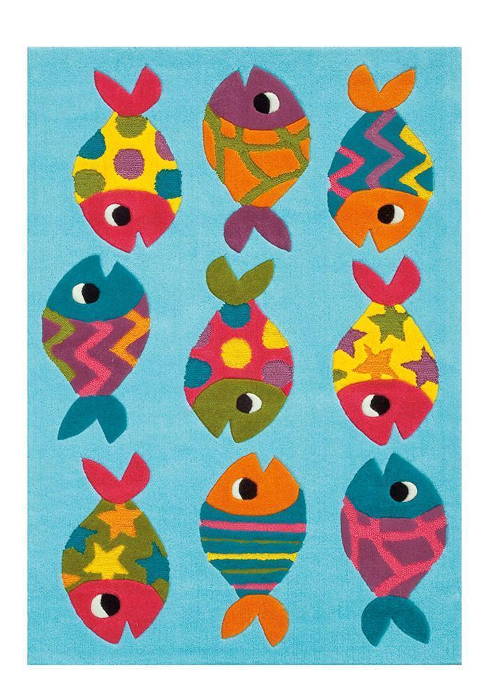 Arte Espina Cute Little Fish Rug Blue