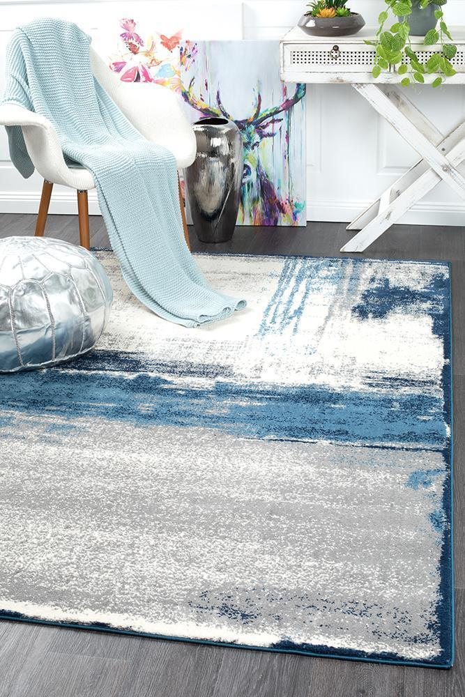 Chelsea Anita Abstract Rug Blue Cream