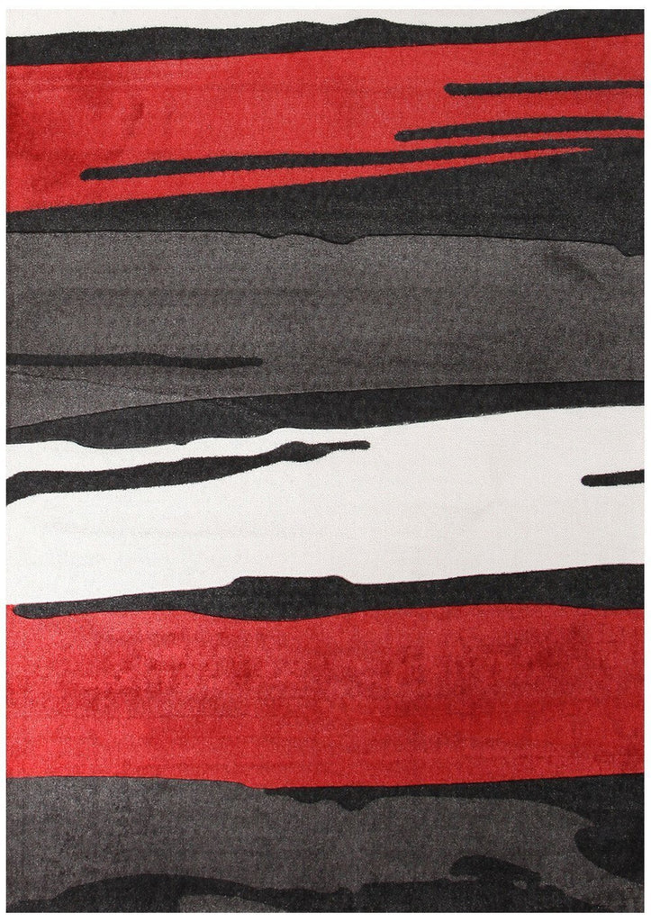 City Brush Strokes Rug Black Red