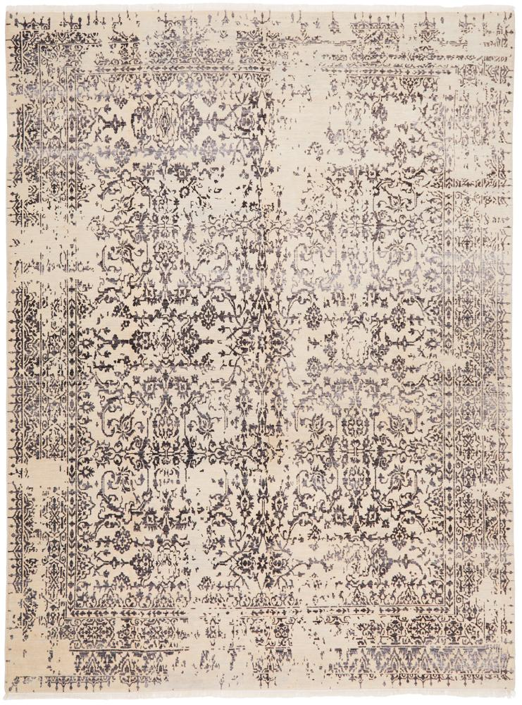 Hand Knotted Diamond Rug - Cream/Grey