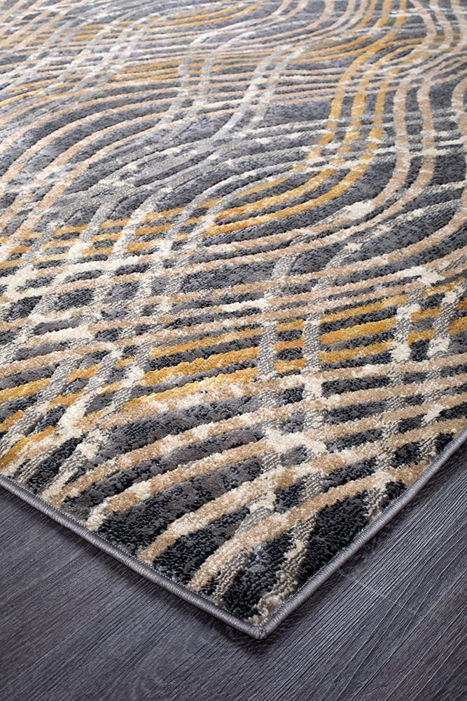 Dreamscape Flurry Modern Charcoal Runner Rug