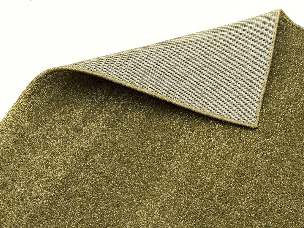 Elements Dense Plain Moss Coloured Runner Rug