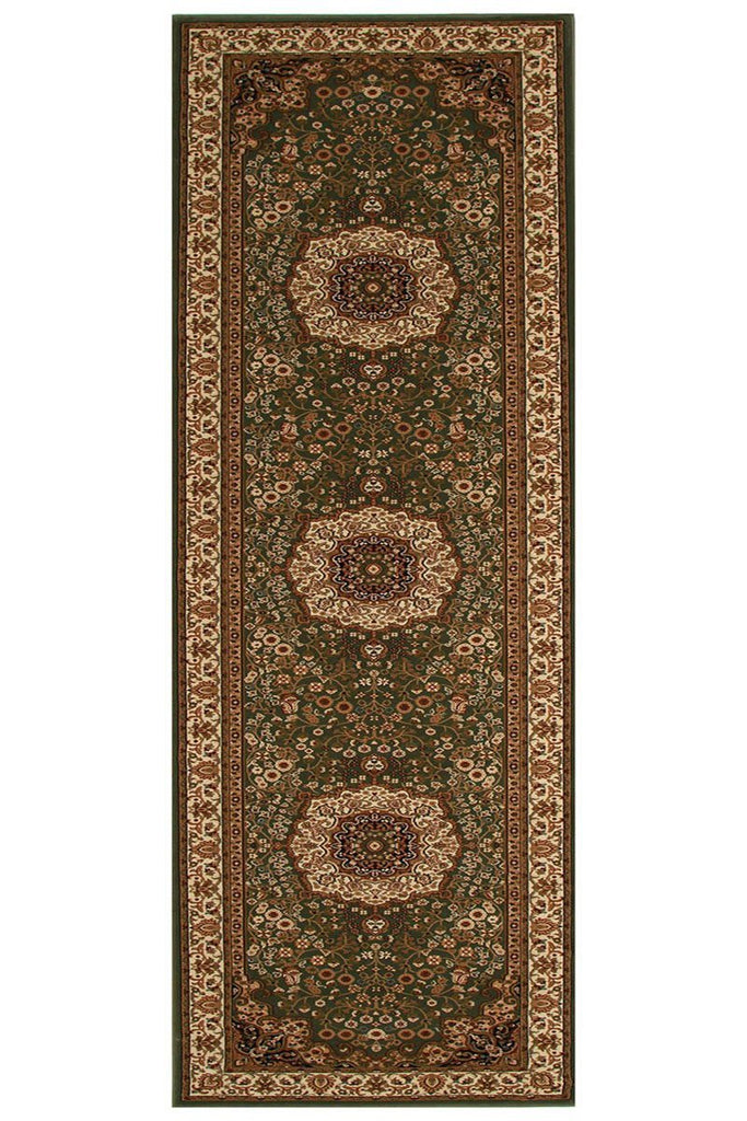 Empire Collection Stunning Formal Medallion Design Green Rug