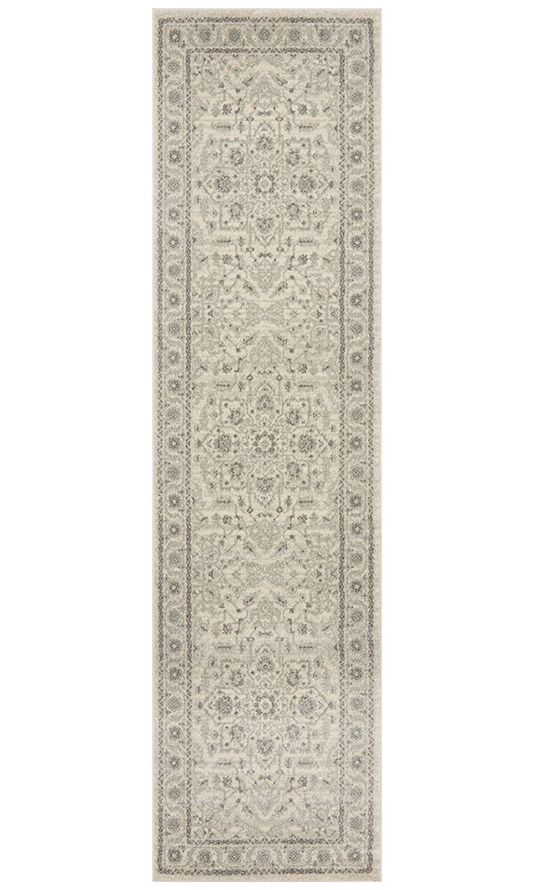 Evoke Silver Flower Transitional Runner Rug