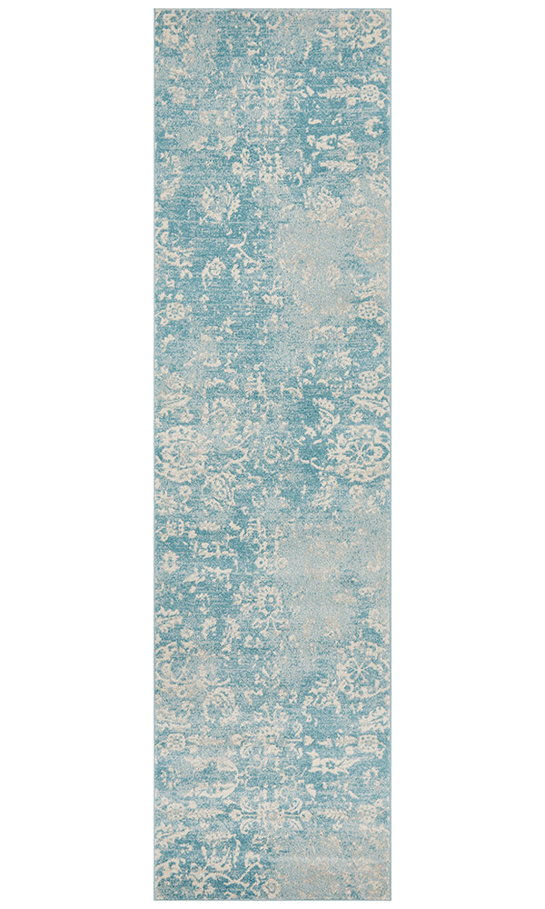 Evoke Skyline Blue Transitional Runner Rug