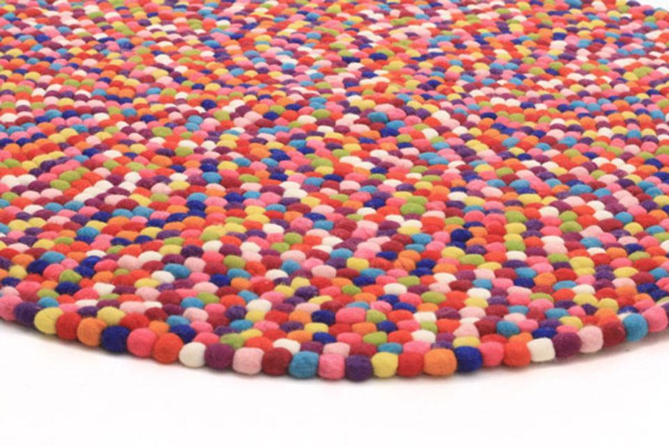 Gumball Felted Wool Unique Textured Ball Design Round Rug Multi
