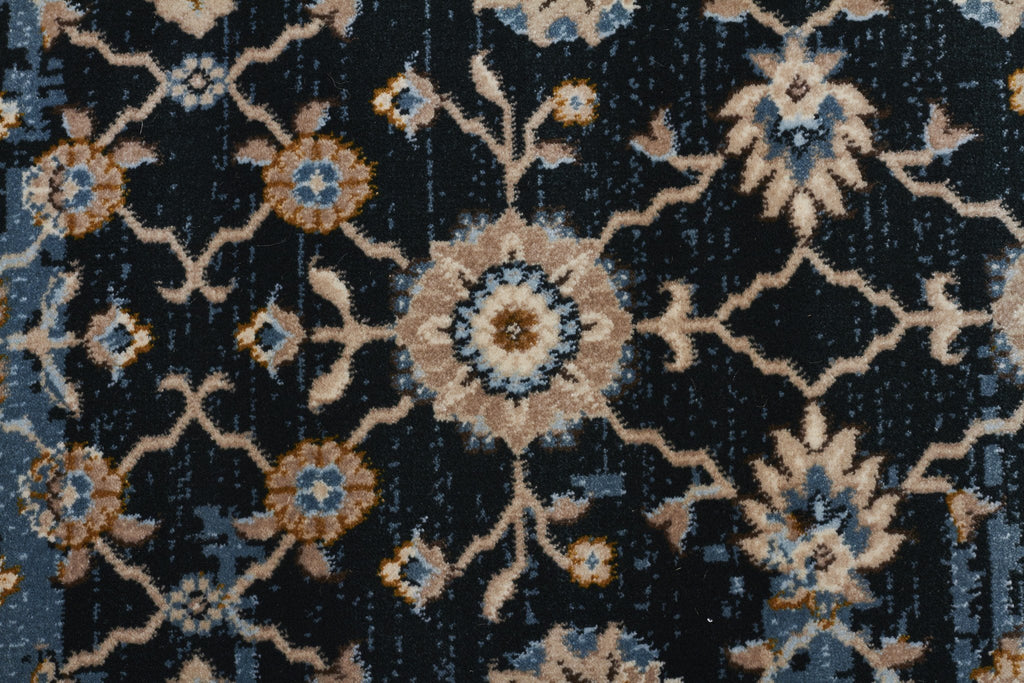 Heirloom Royal Kashan Designer Blue Navy Runner Rug