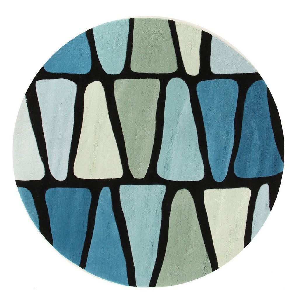 Gold Collection 623 Blue & Green Round Rug