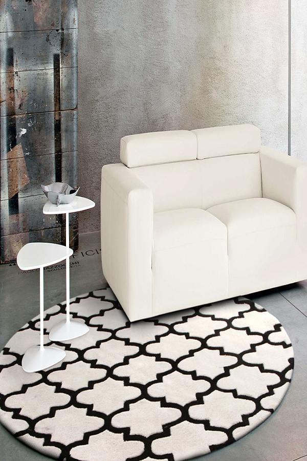 Gold Collection 625 White & Black Round Rug