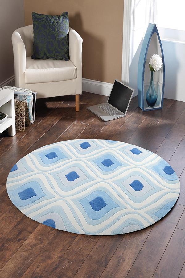 Gold Collection 629 Blue Round Rug