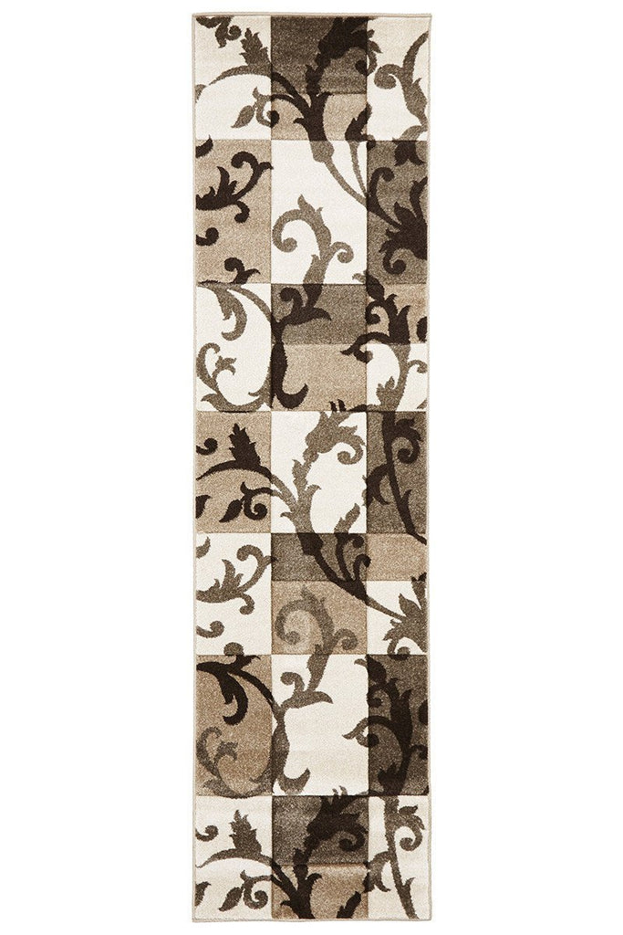 Icon Squares And Vines Runner Rug Beige Brown