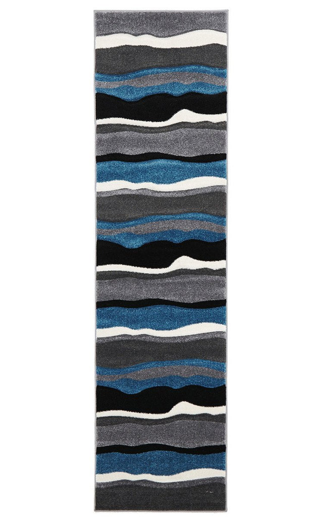 Icon Stunning Thick Wave Runner Rug Blue Grey