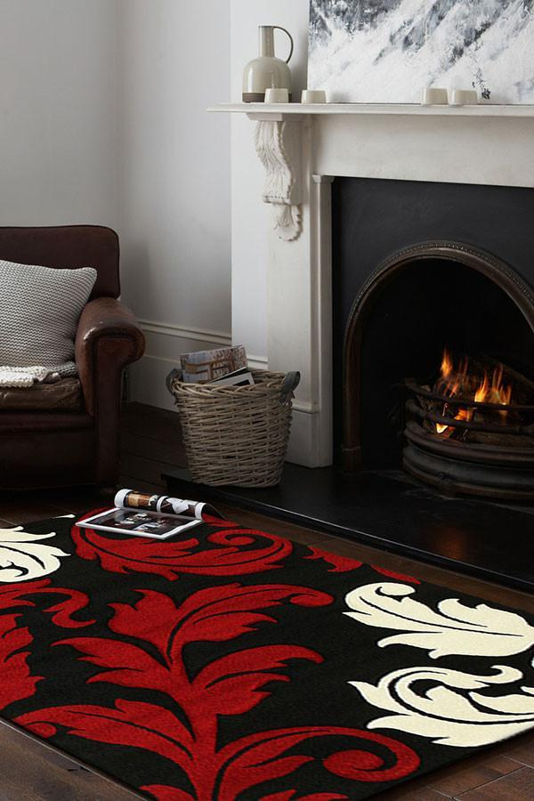Icon Damask Leaf Design Rug Red Black