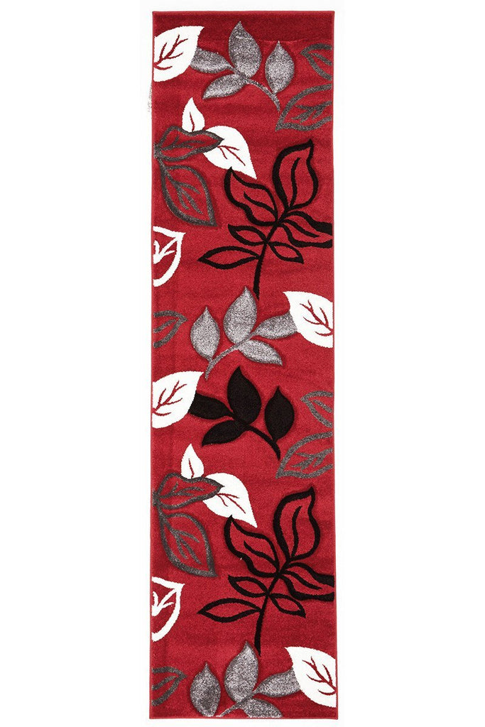 Icon Stunning Thick Leaf Runner Rug Red