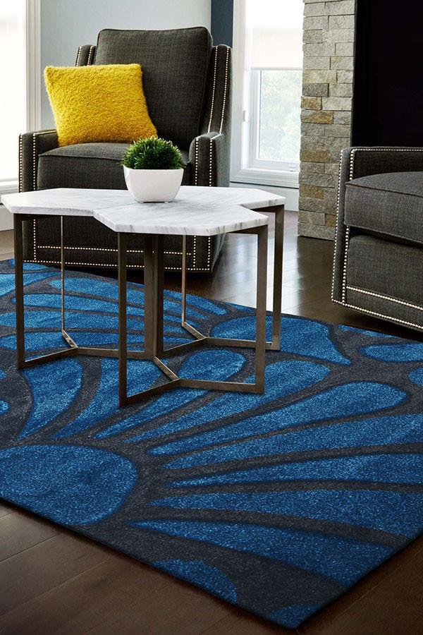 Icon Damask Modern Fern Rug Blue Charcoal