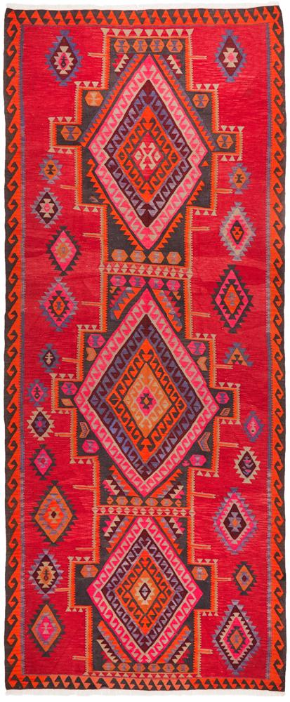 Hand Knotted Azerbaijani Kilim Rug - Red/Pink