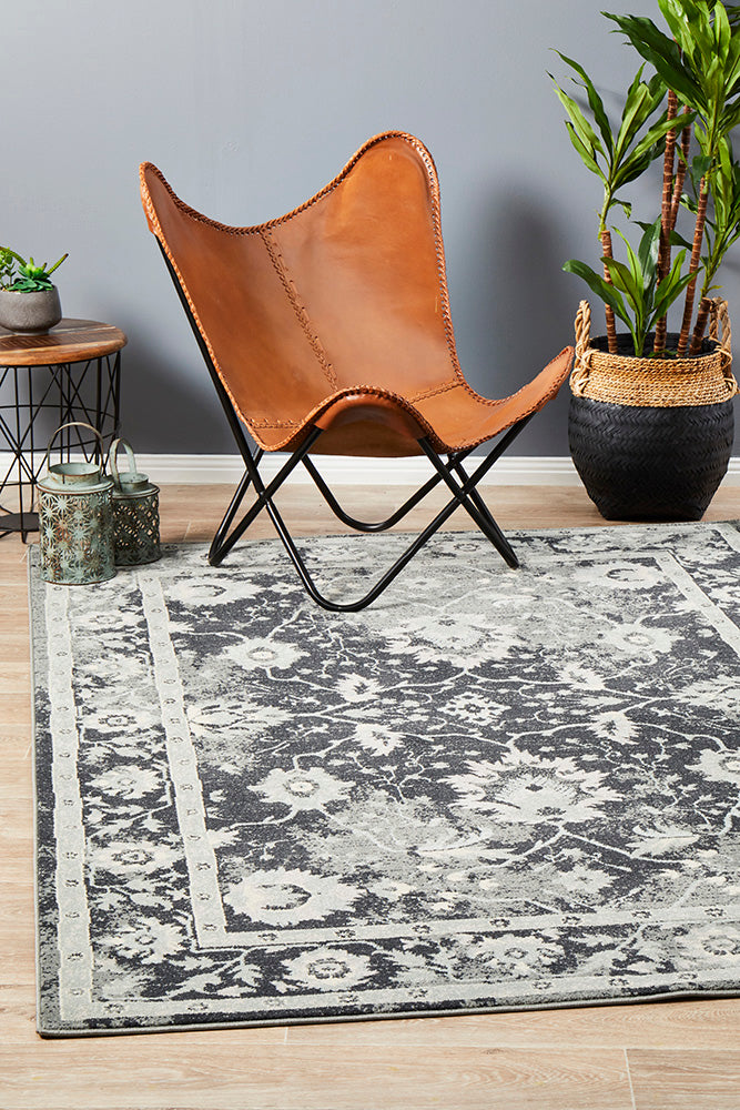 Jewel Nain Design 804 Navy Blue Grey Rug