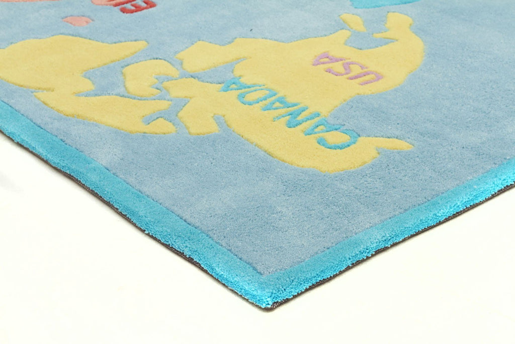 World Map Rug Blue